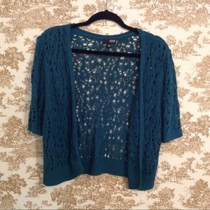  Teal Open Front Crochet Cardigan